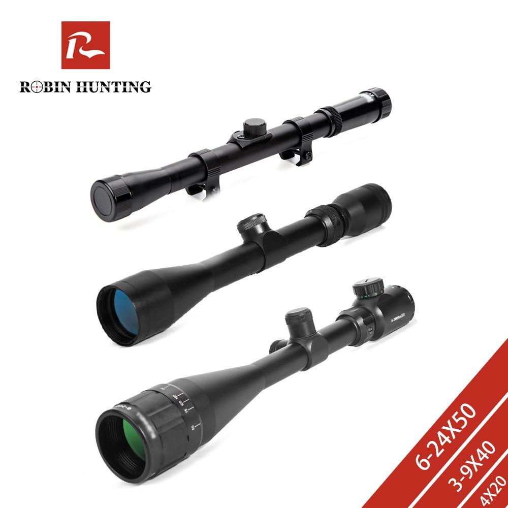 Robin Hunting 3-9x40 Hunting Scopes 4x20 Optics Rifle Scopes 6-24x50 Tactical Riflescope 4X32 Sniper Scope For Airsoft Air Guns