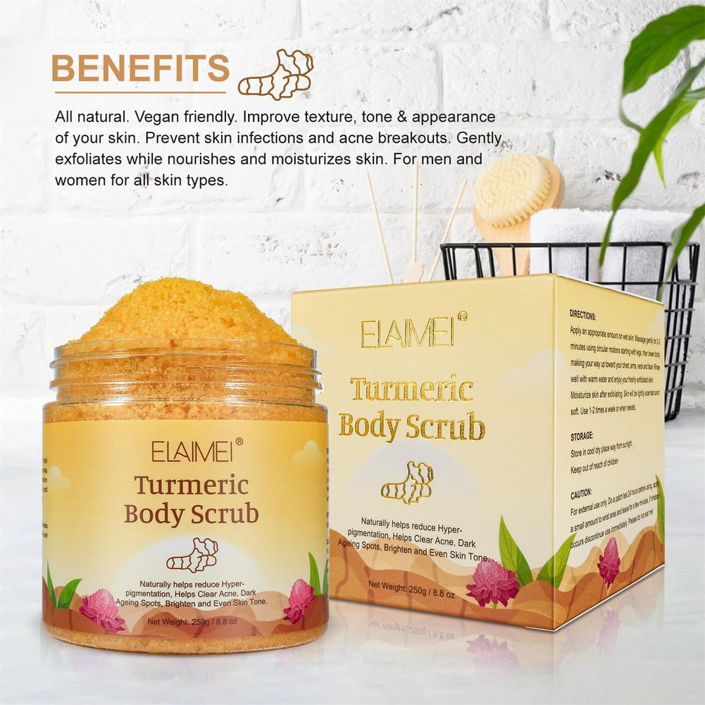 250g Exfoliating Body Scrub Moisturizing Clean Cream Matcha/Turmeric Whitening Brightening Exfoliating Blackhead Removal
