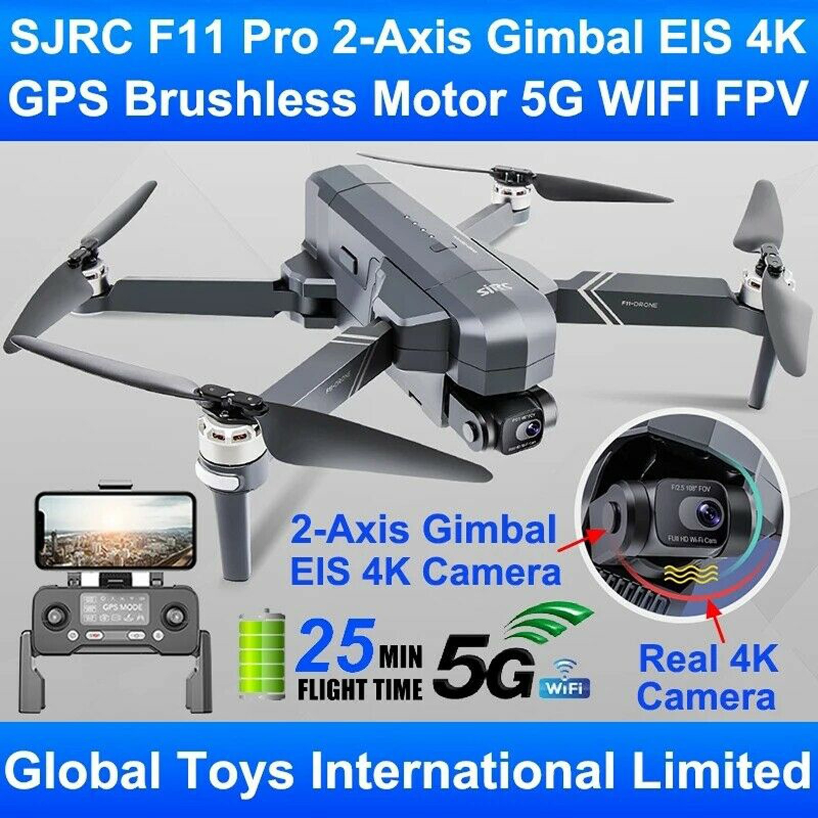 SjRC F11 4K Pro 5g Wifi 1.2km Fpv Gps With Eis 4K HD Camera 2-axis Gimbal Brushless Foldable RC Drone Children Quadcopter Toy #K
