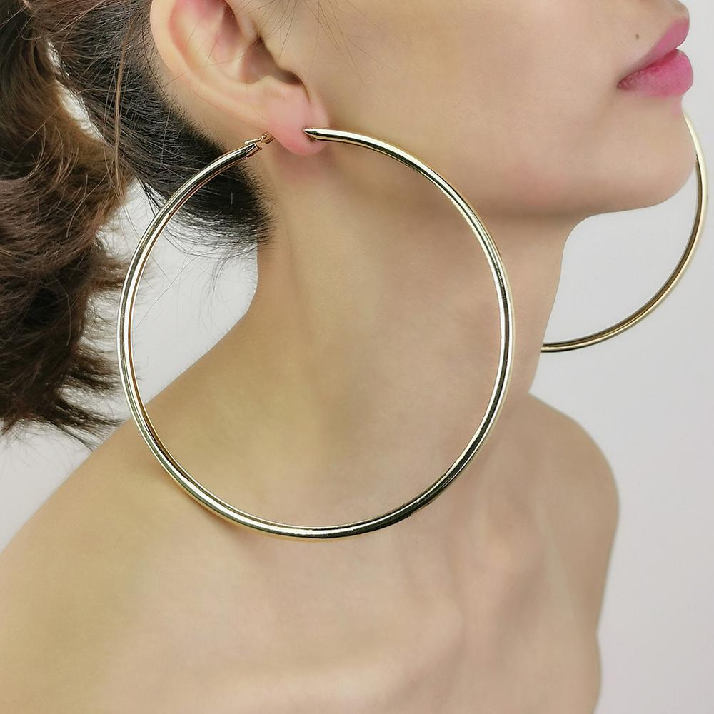 AliExpress - MANILAI 120mm Oversize Big Hoop Earrings Gold Color Jewelry Fashion Punk Round Metal Pipe Statement Earrings Women Large Earring