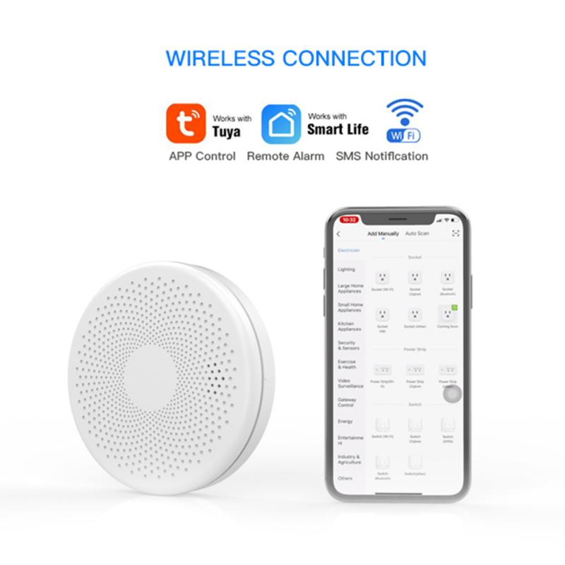 Tuya WiFi Smoke Alarm Fire Protection Smoke Detector Smoke house Combination Fire Alarm Home smart Security System Fire smoke
