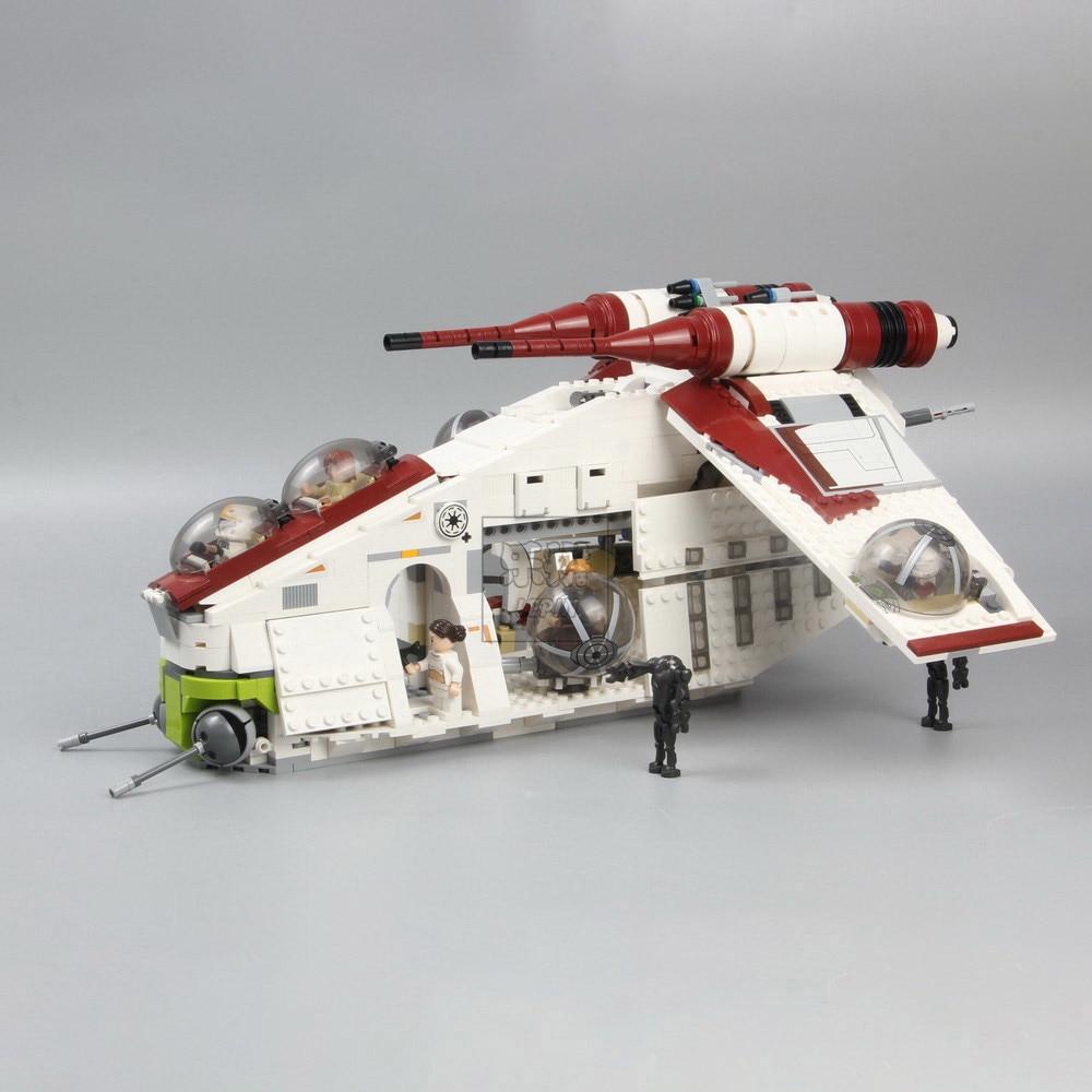 Em estoque 05041 05042 guerra ucs a república gunship 05035 morte bloco de construção conjunto tijolos brinquedos lepining star wars 75021 10188