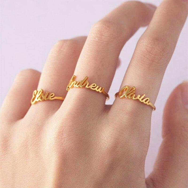 Benutzerdefinierte Ring Mit Name Anillos Mujer Edelstahl Charme Brief Ring Personalisierte Bff Ringe für Frauen Schmuck kostenloser versand