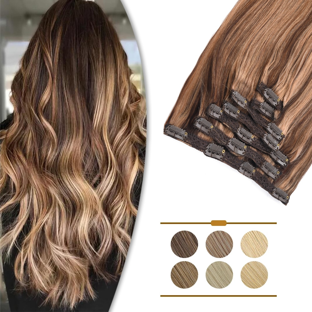 ZURIA Clip In Hair Extensions Human Hair Lace Clip 16