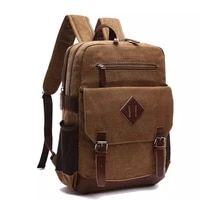 vintage mens canvas backpack for men womens school backpacks fits most 15 6 inches laptop bag male hiking travel rucksack bags