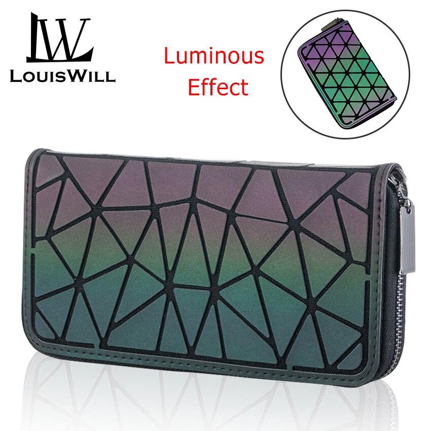 LouisWill, cartera para mujer, bolsos geométricos a la moda para mujer, bolso largo luminoso, bolso de mano, bolso, tarjetas, bolsos reflectantes holográficos