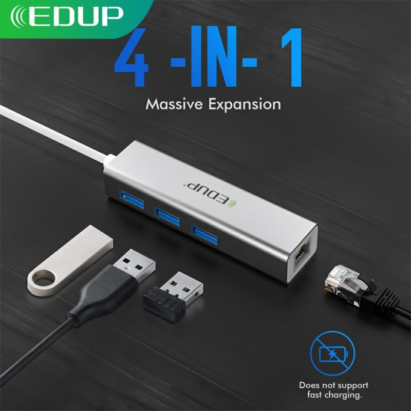EDUP USB C HUB 1000Mbps 3 Ports USB 3.0 Type C HUB USB to Rj45 Gigabit Ethernet Adapter for MacBook Laptop Computer Accessories