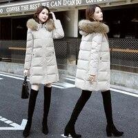 new down jacket womens medium and long white duck down fur collar winter coat womens