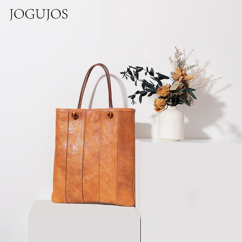 2021 Natural Cowskin Leather Fashion Retro Women Handbags Top Quality Tanned Girls Cross Shoulder Bag Joining together Tote Bag