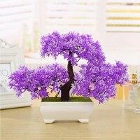 new 1pcs artificial plant plastic mini pine bonsai tree in pot office home decor