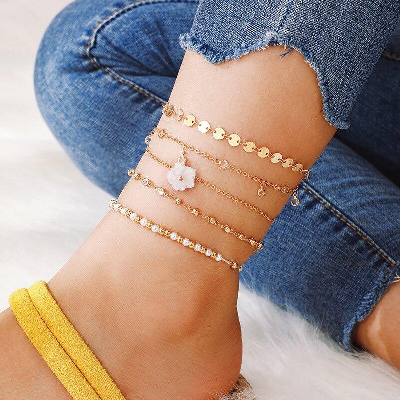 5 uds juego de pulseras de tobillo de cuentas bohemias multicapa de diamantes de imitación corazón encanto pulseras de cadena mujeres joyería para el tobillo pie regalo