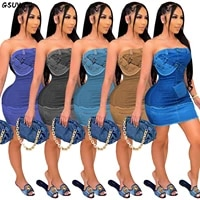 gsuwoo casaul fake denim dress women solid off shoulder strapless mini jeans dress sexy backless club party dress street vestido