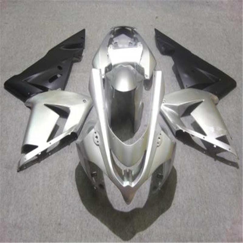 Top-rated de la motocicleta kit de carenado para KAWASAKI Ninja ZX10R 04 05 ZX 10R 2004 2005 ABS fresco plata negro carenados conjunto