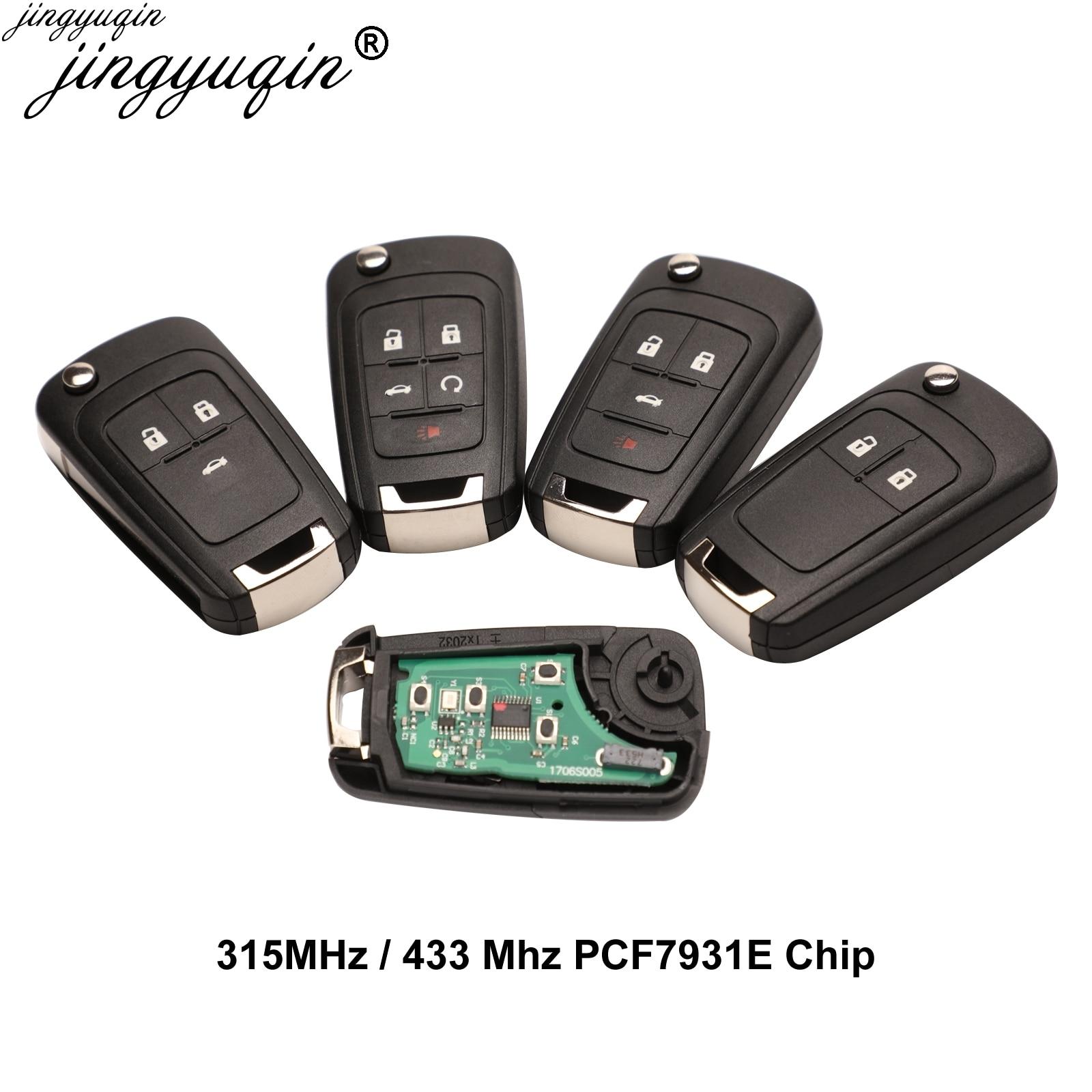 Jingyuan carro remoto chave terno para chevrolet malibu cruze aveo vela faísca 2/3/4 botões 315/433mhz id46 pcf7931e chip chave