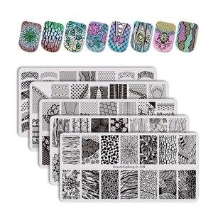 BeautyBigBang 5 шт./компл. пластины для стемпинга цветочную тему ногтей трафарет для нейл-арта, шаблон в виде геометрических фигур дерево ногтевой ...