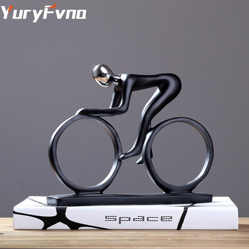 Estatua de bicicleta YuryFvna, figura de ciclista, figura de resina, arte abstracto moderno, figura de atleta, ciclista, decoración del hogar