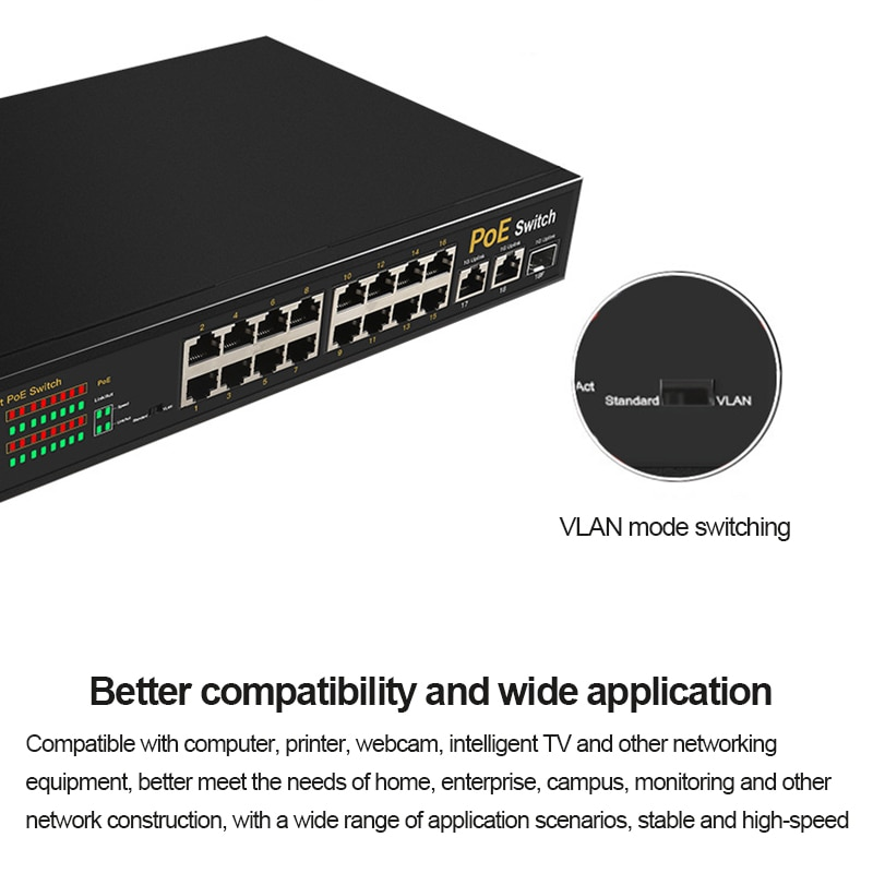 TEROW 19 Ports Network Switch 16*100Mbps POE Port+2*1000Mbps Uplink Port+1*1000Mbps SFP Port 48V  for IP Camera/ POE Monitoring enlarge