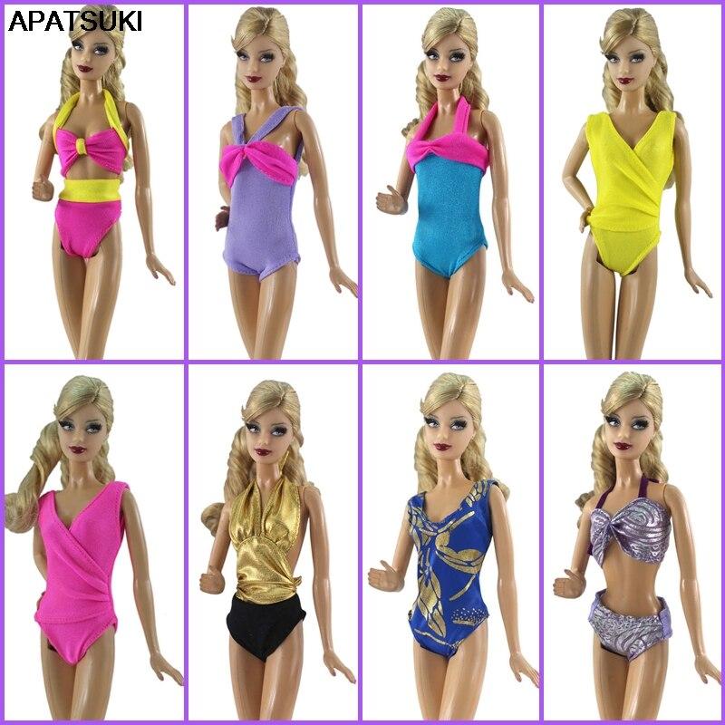 Bikini Sexy colorido para Ropa de muñeca Barbie, bañador de una pieza para Barbie, casa de muñecas 1/6, accesorios para niños