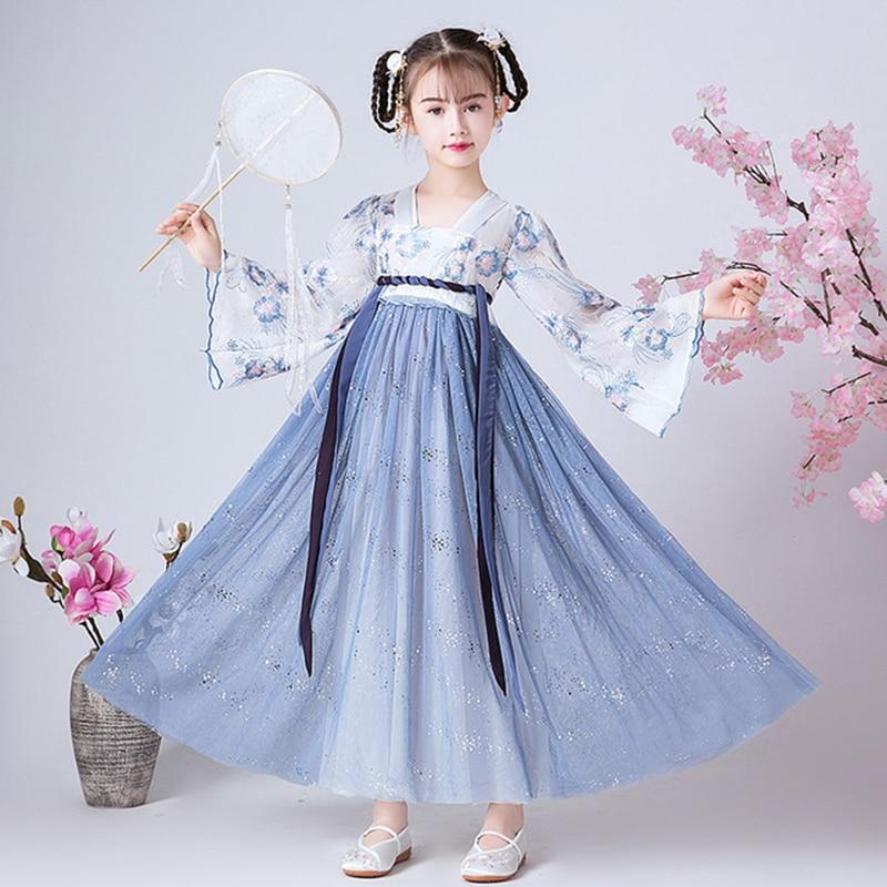 تنورة صينية قديمة ، زي هانفو للأطفال ، ملابس رقص ، أداء ، فستان صيني تقليدي للفتيات