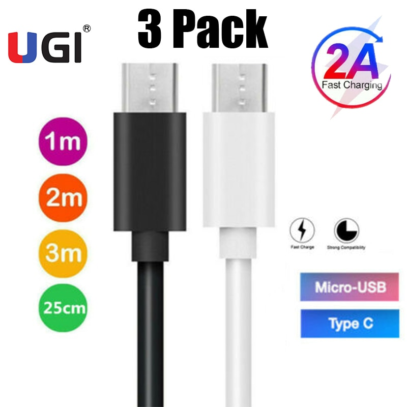 UGI-Paquete de 3 cables de carga USB tipo C, Micro USB, Android,...