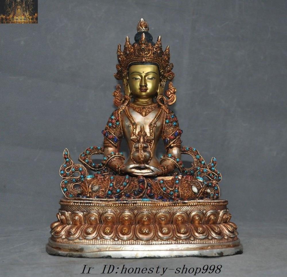 christmas Tibet Nepal Bronze 24K Gold Silver Filigree inlay Gem Kwan-yin Amitayus Statue halloween