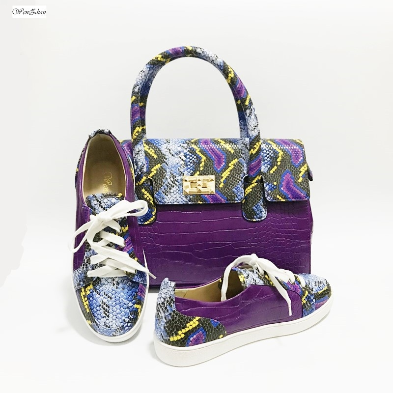 ¡Aceptamos! Bolso de mujer, combina con zapatillas de punta inferior, encantadoras zapatillas de diseño de serpiente moradas, zapatos blandos con bolsa de tacón personalizado. A27-2