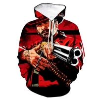 red dead redemption 2 hoodies game 3d print hooded sweatshirt hoodie men women fashion streetwear pullover hip hop clothing male
