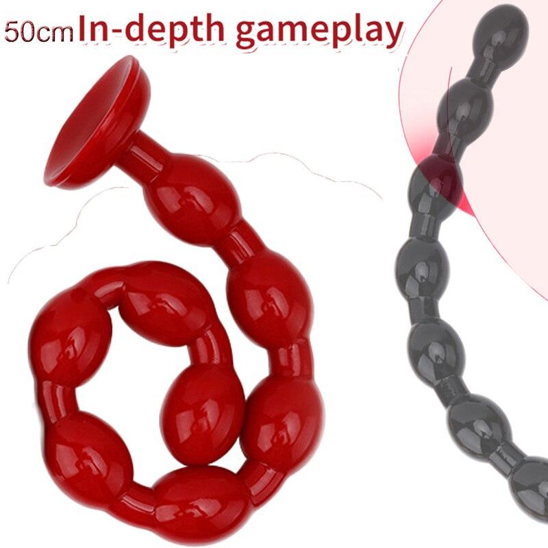 50cm long anal beads butt plug sex toys for woman men vagina anus dilator prostate massager masturbator  erotic intimate goods