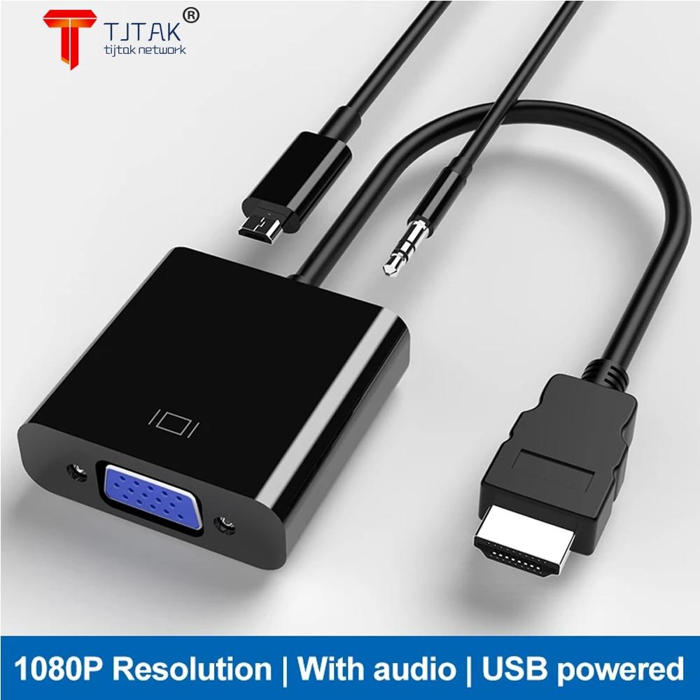 Adaptador HDMI-compatible con VGA, Adaptador Macho Para hembra, convertidor, 1080P, VGA, 3,5,...