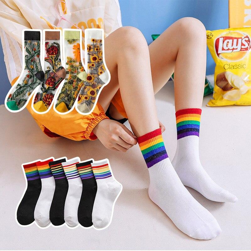 Женские носки с принтом, цветные крутые тонкие женские носки, модные рождественские носки, Дышащие Короткие тонкие шелковые сетчатые носки