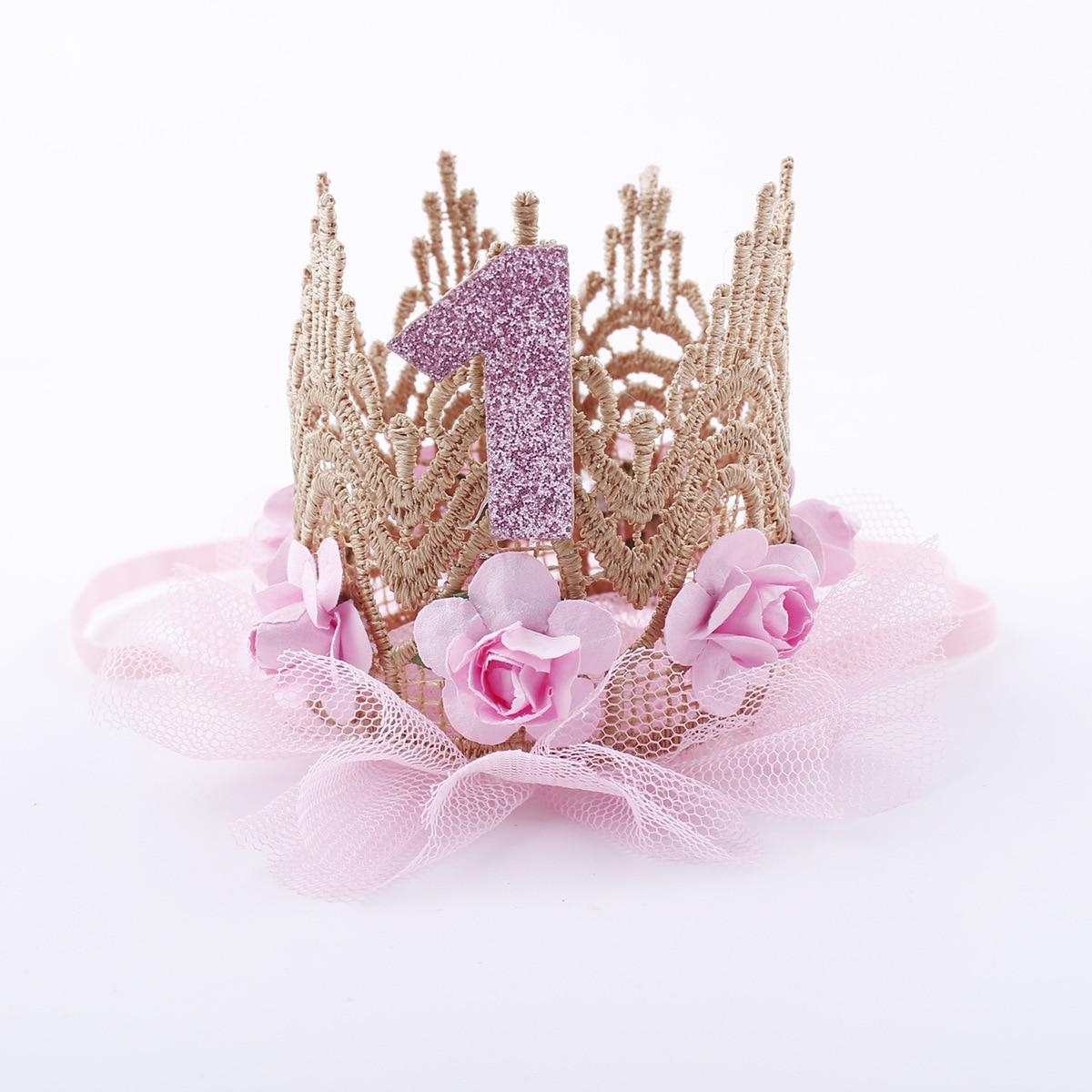 Tiaras de cumpleaños para niñas pequeñas recién nacidas, diadema de princesa de encaje con flores, bonitos regalos de cumpleaños para niñas