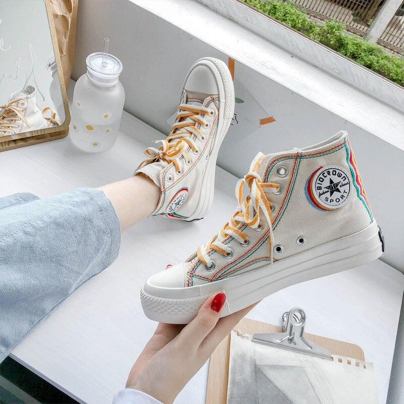 Zapatillas de lona de alta calidad Ulzzang párr mujer de zapatos informales...
