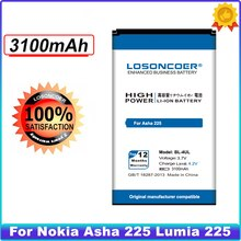 LOSONCOER 3100mAh BL-4UL Battery For Nokia Asha 225 Lumia 225 RM-1011 RM-1126 High Quality Accumulator Battery