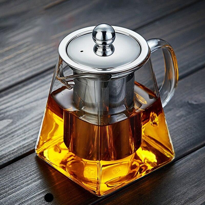 350 / 550 / 750 / 950 مللي فرن مقاوم للحرارة أبريق شاي زجاجي مربع أبريق شاي زجاجي الشاي حاقن مرشح الحليب زهرة إبريق الشاي