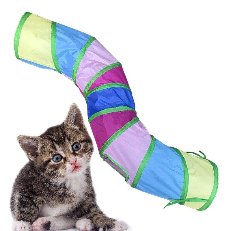 Juguete divertido para gato, túnel para gato de 3 agujeros, juguete para cachorro gatito, conejo, gato, juguete para jugar, tubo para interior, exterior, Gato, juguete de entrenamiento
