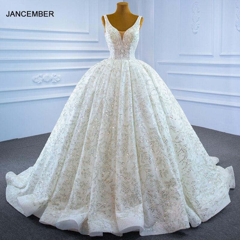 RSM67254 Sexy Applique Print Pattern Metal Sequins Wedding Bridal Wedding Dress V-neck Transparent Lace Backless Wedding Gown