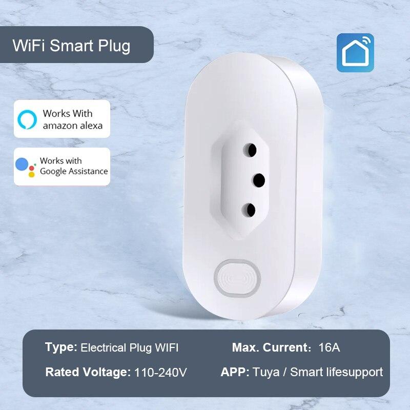 Tuya APP البرازيل القياسية واي فاي المكونات الذكية مع مراقبة الطاقة 16A الحياة الذكية APP عن بعد مأخذ الذكية يعمل لجوجل المنزل ، اليكسا