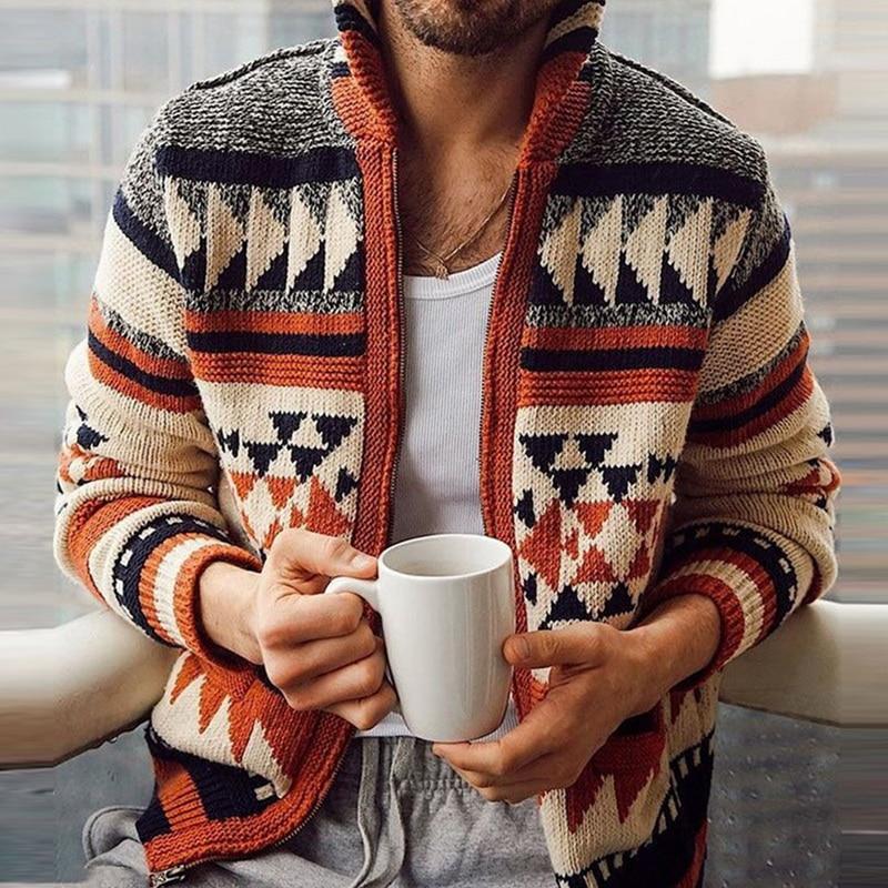 Men Autumn Sweater Jacket Fashion Geometries Knitted Outwear Coat Sweater Men Hooded Cardigan Vintage Sweater Jumper