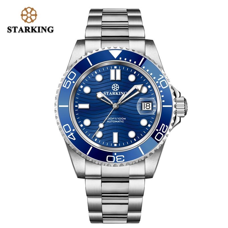 STARKING-ساعة يد رجالية أوتوماتيكية ، كرونوغراف ياباني 40 مللي متر ، شبح ماء أخضر ، ساعة يد ميكانيكية 100 متر ، مقاومة للماء