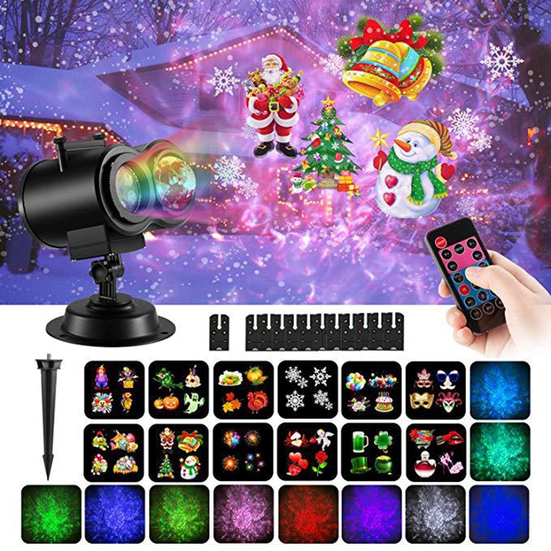 LED Christmas Projector Lights 12/16 Slides Ocean Wave Snowflake Light Waterproof Outdoor Lighting Laser Projector for New Year new mini snowfall projector christmas lights outdoor projector ip65 moving head laser snow led stage light for xmas party lights