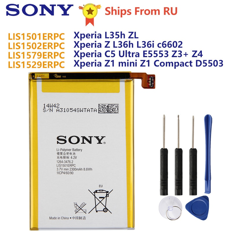 Original Sony Battery LIS1501ERPC For L35h Xperia ZL ZQ C650X Xperia Z L36h L36i c6602 C5 Ultra E5553 Z3+ Z4 Z1mini Z1 Compact enlarge