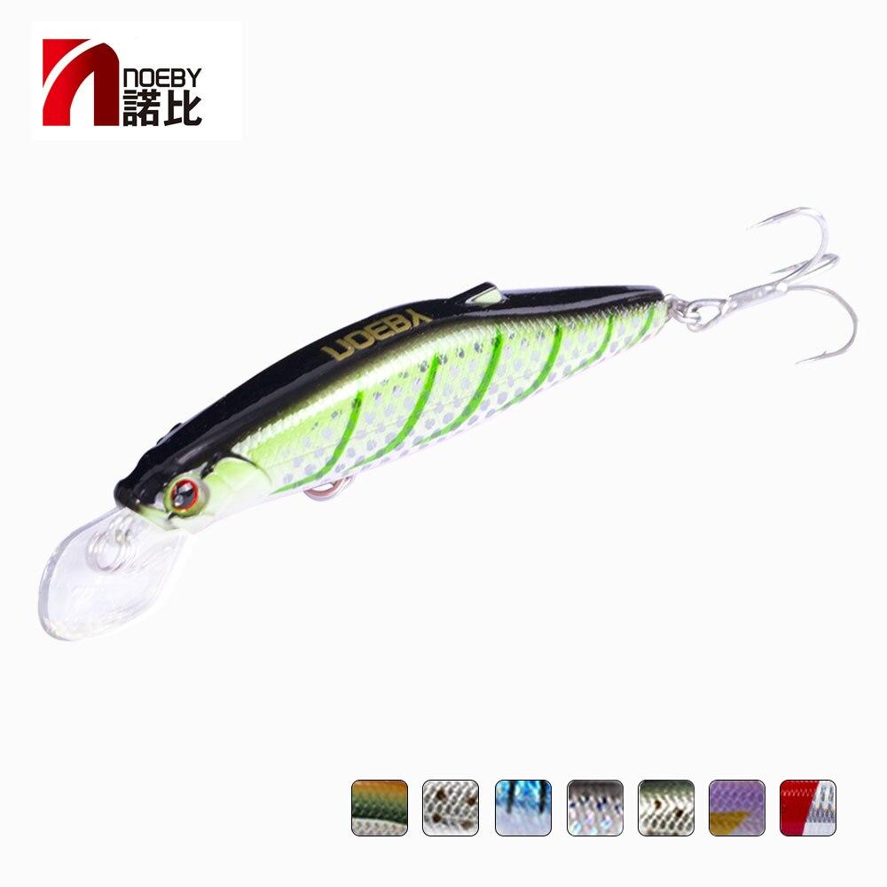 NOEBY, señuelo de pesca minnow, cebo duro NBL9447 wobblers 80mm 25g, hundimiento, súper láser, ganchos japoneses de efecto minnow, señuelos Multicolor