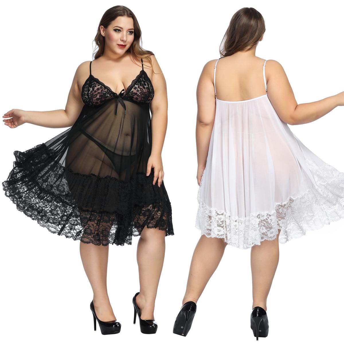 Sexy erótico Lace Hollow-out Night Dress mujeres camisón de lencería Pijama mujeres ropa de dormir a través de la ropa interior negro de talla grande 6XL