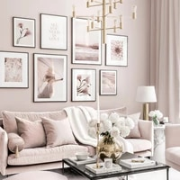 scandinavian fashion poster pink flower plant landscape wall art canvas painting nordic print modern picture living room decor