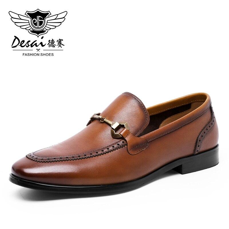 DESAI أحذية رجالي بدون كعب جودة عالية سهلة ارتداء جلد طبيعي موضة عادية أسود براون قارب للرجال 2020