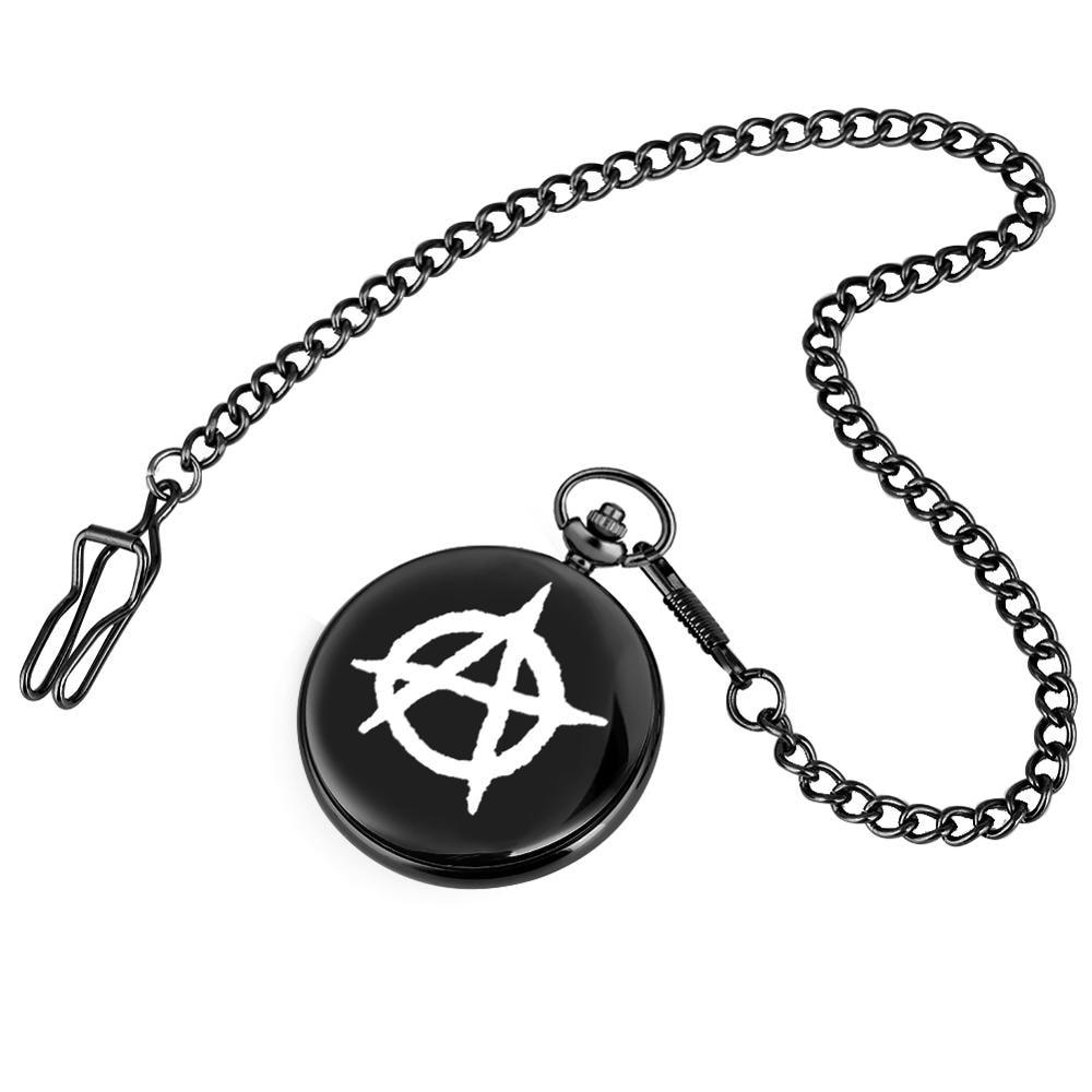 Анархист знак шаблон карманные часы для мужчин сплав ожерелье женщин часы грубая цепочка Кулон часы подарок relogio de bolso