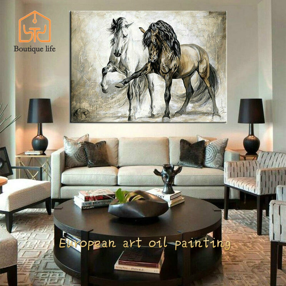 Pintura de pared, arte de pared, caballo Retro, lienzo, Cuadros, Pintura, arte de pared, decoración de carteles, Pintura al óleo sobre lienzo