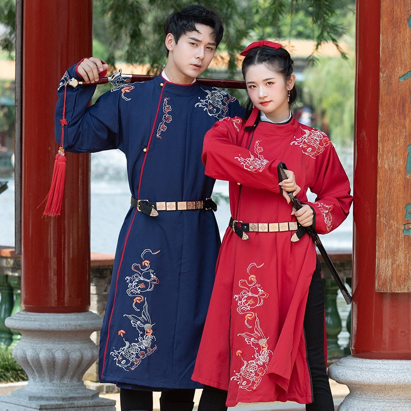 شحن مجاني تانغ التطريز الياقة المستديرة رداء غير المبطنة الملابس العليا من الرجال والنساء عشاق الطبقة تأخذ هانفو وو Xiafeng الجلباب