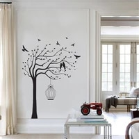 tree birds wall decal sticker for living room bedroom tree of life roots flying away home decor bird cage vinyl ov344