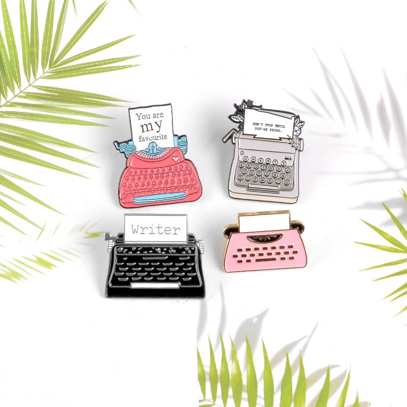 Old Style 26 Number Key Write Printer Protect Your Memory Card Please Music CD popular Pin Collection Brooch Jewelry Gift  - buy with discount